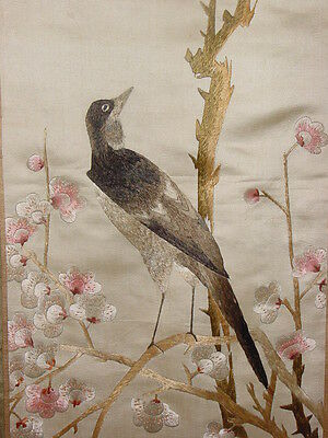 Wonderful Antique Chinese Silk Embroided Panel Nightingale  ****hg***