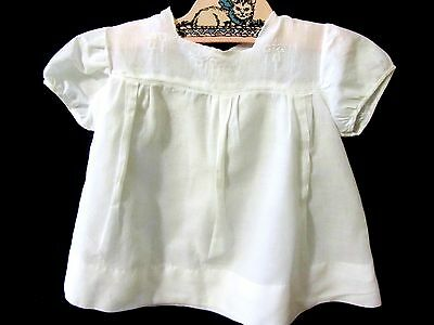 "VTG Batiste Baby Dress White Yoke Antique Nursery 13"" Sweet Doll Dress"