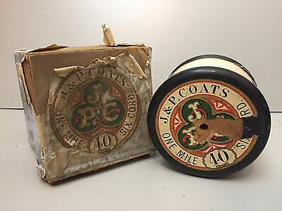 LARGE J&P COATS 1 MILE SHOP PROMO ADVERTISING COTTON THREAD REEL -DISPLAY or USE