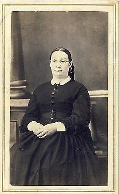 1860s Antique Victorian CDV Photo Woman Glasses Period Hoop Dress Teacher ??