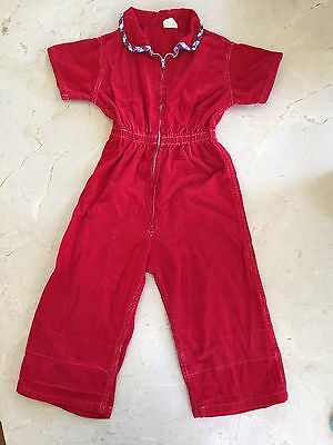 Vintage 60's Fire Engine Red Corduroy Toddler Boy's Girl's Jumpsuit Size 3