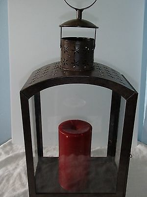 "19"" Rustic Metal With Glass Sides Garden Lantern"