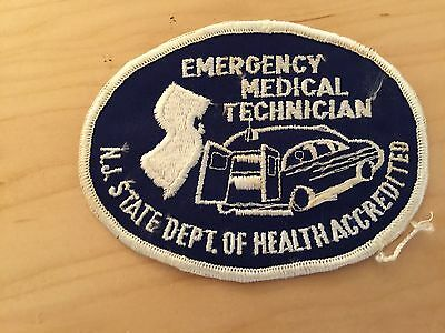 Emergency Medical Technician Patch, Nj State, Dept Of Health Accredited, 1970's