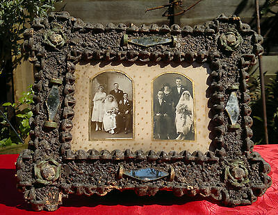 "Antique English Folk Art Bespoke Picture Frame with Wine Corks 17"" by 13.5"""