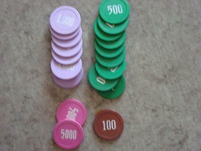 20 Lammer Chips 5,000, 1,000, 500, 100 Great For Any Collection!
