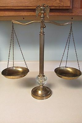 Vintage Brass Balance Scale With Clear Glass And Eagle Top Adjustable!