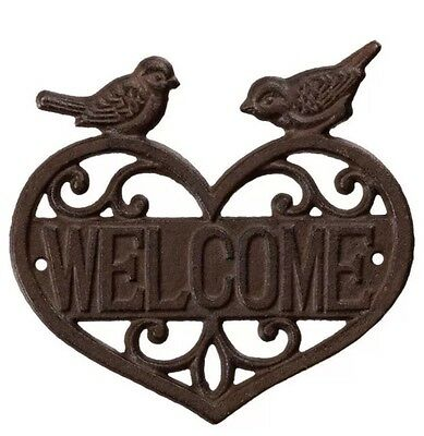 New Vintage Shabby Chic Cast Iron Welcome Bird Heart Wall Plaque Rustic Signs