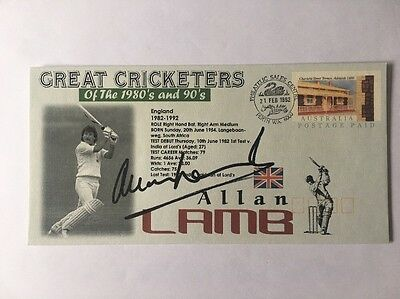 Signed Allan Lamb First Day Cover England Australia Ashes