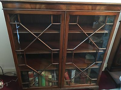 Vintage Bookcase With Glass Doors And Key.