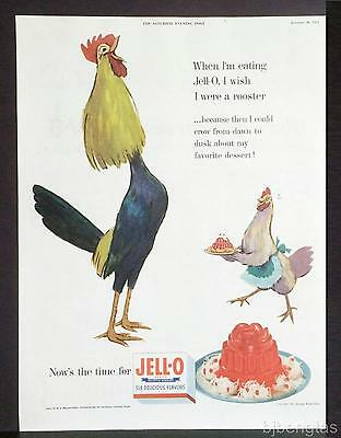 1954 JELL-O Wish I Were a Rooster Crow from Dawn to Dusk! Vintage Print Ad