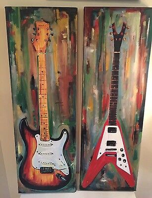 Set of 2pcs Guitar Canvas Print Wall Art Painting Pictures Home Decor
