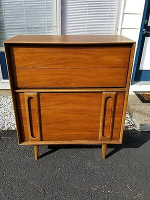 Solid Walnut Mid Century Tall Boy Dresser by Lane Furniture