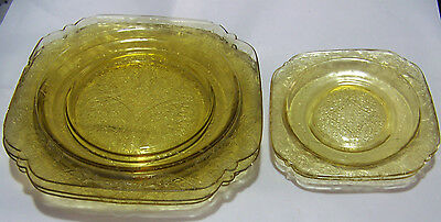 Lot Of 5 Federal Glass Madrid Yellow Amber Depression Glass Plates 1932-1939?