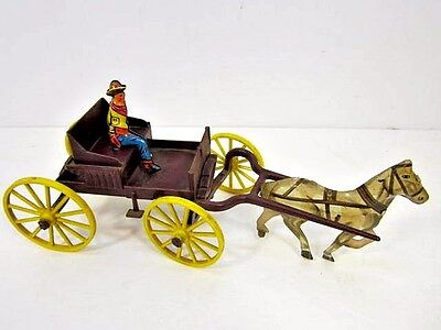 Vintage 1960's Tin Litho & Plastic Horse & Buggy With Driver Western Toy