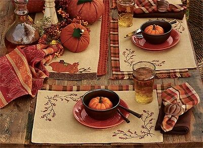 Burlap & Bittersweet Fall Harvest Embroidered Cotton Placemat