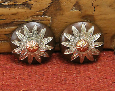"""Pair Martin Saddlery Iron Copper Flower 1-1/2"""" Concho Silver Plate NOS"""