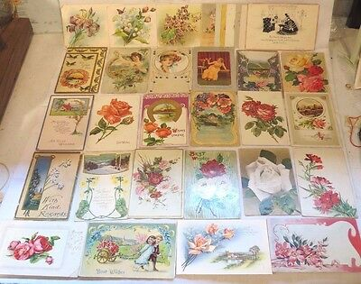 Antique Lot Of Greetings Postcards 1909-1916 (32 Selling Together)