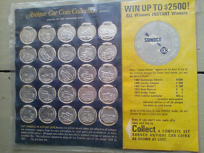 Complete Sunoco Antique Car Coin Collection Series 1 ~ 25 Tokens on Game Card