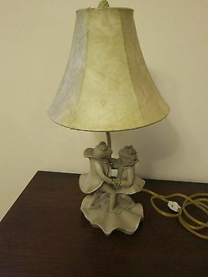Vintage Dancing Frog List W/ Leather Lampshade- Sage Green