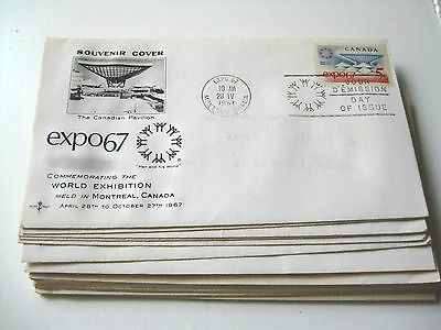 Set of 17 Expo 67 Souvenir Cover Envelopes with Expo Cancelled Stamp on Each One