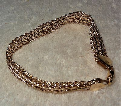 "~FANCY~ 10K Yellow Gold Bracelet 7"" long x 1/4""  (8 Grams) NOT SCRAP"