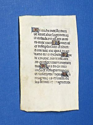 Mini Medieval illuminated Manuscript Leaf w/Gold Initials,c.1460