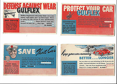 Gulf Oil FOUR Old Post Cards  1930-50