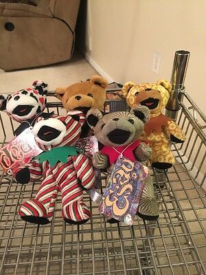 Lot of 5 Grateful Dead Bean Bear Collection with Tag by Liquid Blue