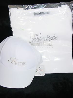 New Bride Hat And Matching White And Silver Tank Top Size Large By Beverly Clark