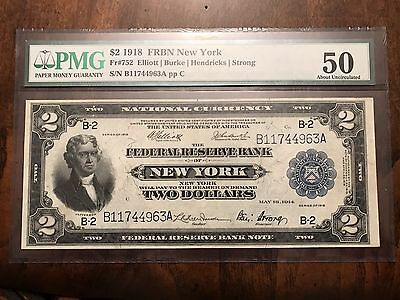 "FR 752 1918 $2 FRBN New York ALMOST UNCIRCULATED AU50 PMG ""BATTLESHIP NOTE"""
