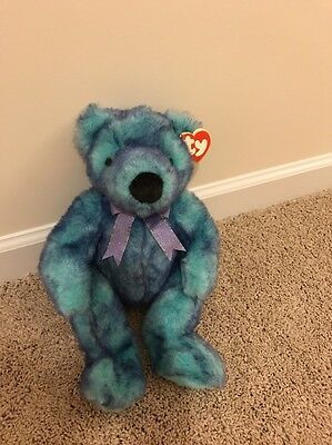 "BLUEBEARY TY Beanie Babies CLASSIC Bear Plush 1999 14.5"" soft stuffed with tags"