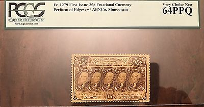 FR1279 25¢ FRACTIONAL PERF EDGES WITH ABNCo. PCGS 64 UNC PPQ