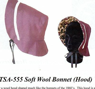 1800's SOFT WOOL BONNET (HOOD) Timeless Stitches TSA-555