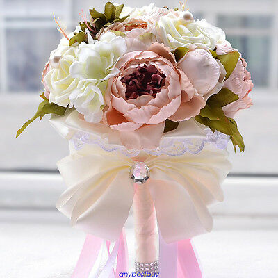 Artificial Peony Flowers Bridal Bride Hands Holding Bouquet Wedding Party Decor