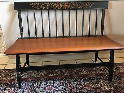 L. Hitchcock Country Style Bench Black/maple Harvest