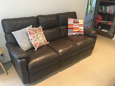 Brown Leather 3 Seater Lounge With Electric Recliners