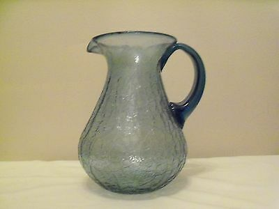Cracked Glass Blue Pitcher