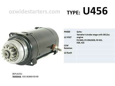 Yamaha starter motor suits FX, FX SHO, FX Cruiser, FZR, FZS with 1812cc engine