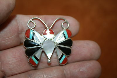 Sterling Silver BUTTERFLY Inlay  Zuni Jewerly Pendant / Pin  Edaakie