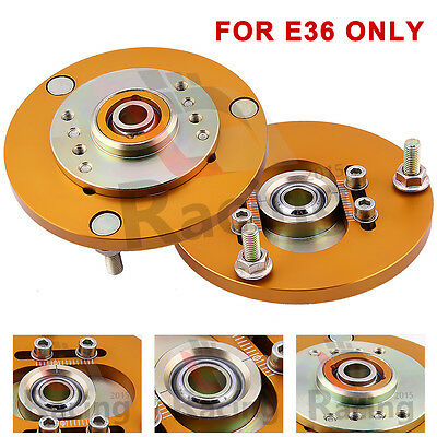 Front Coilover Camber Plate For BMW E36 3 Series Top Mount Kit gold Sales LJR