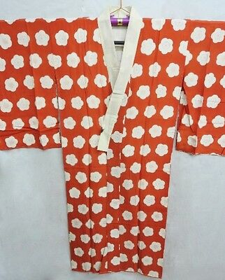 Vintage Japanese Red Silk 'Cherry Blossoms/Ume' Juban/Under-Kimono/Robe 8-12
