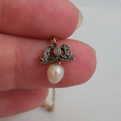 Antique Victorian 9Ct Gold Cultured Pearl And Diamond Necklace