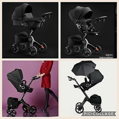 Stokke® Xplory V5 Black Ultimate With Carry Cot And Umbrella Brand New