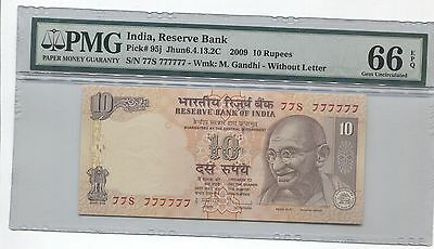 India Gandhi 2009 10R Super Solid 7's 77S  777777 Pmg 66 Epq Gem Unc