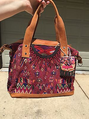 Nwt Nena & Co Sonia Bag Purse Red Crossbody Huipil Guatemala
