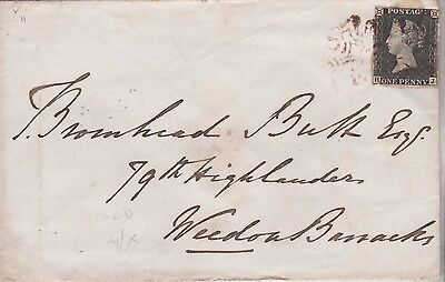 1840 QV GREAT BRITAIN COVER 4 MARGIN 1d PENNY BLACK STAMP PL 6 OXIDISED RED MX !