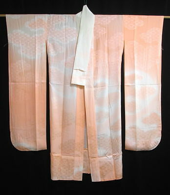 Vintage Japanese Peach/Ivory Silk 'Clouds' Furisode Juban/Under Kimono/Robe MED