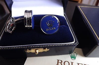 ROLEX RHODIUM SILVER PLATED & BLUE cufflinks new boxed with card