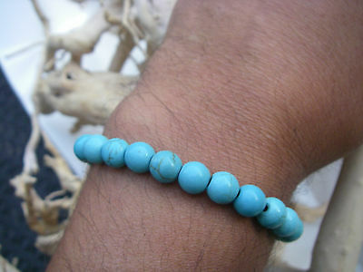 Bracelet perles bleues style turquoises blue beads stretch mixte