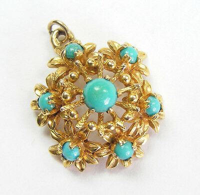 Vintage Turquoise 9ct Gold Flower Pendant 1960s